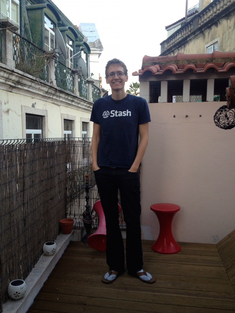 For good measure, here's my husband wearing socks with sandals on the teeny tiny rooftop patio.