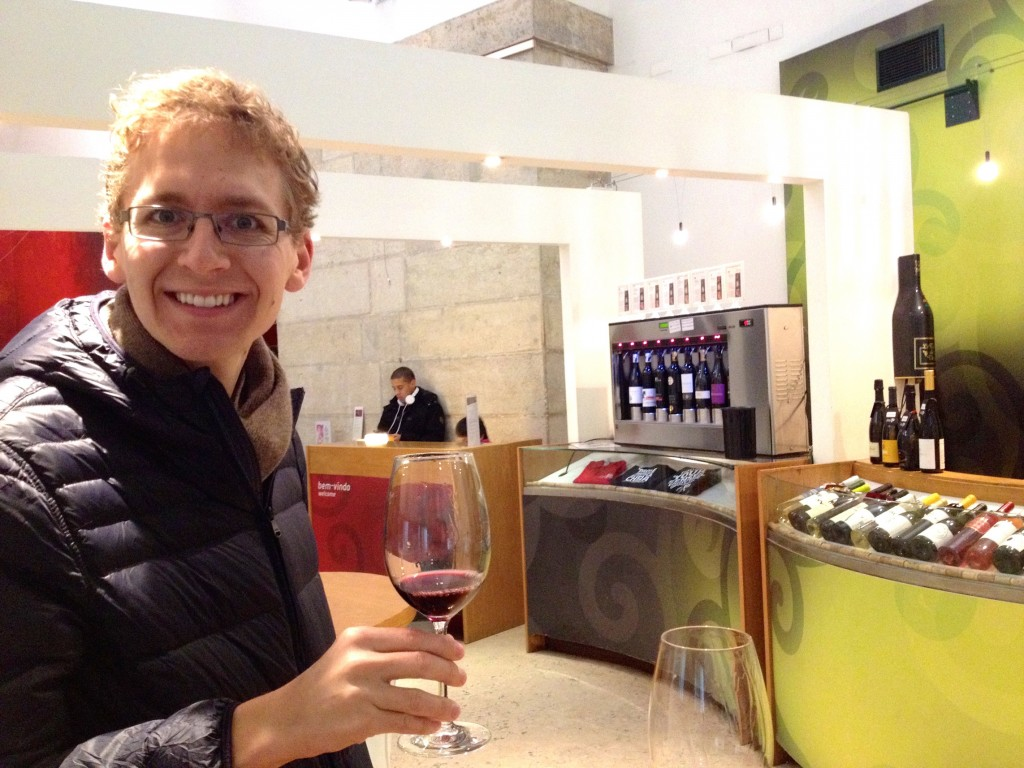 Enjoying some wine tasting at Vini Portugal.