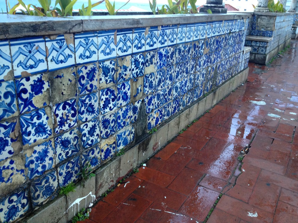 More of Lisbon's iconic tilework. These crumbling tiles are at the Largo Santa Luzia viewpoint in the Alfama neighborhood.