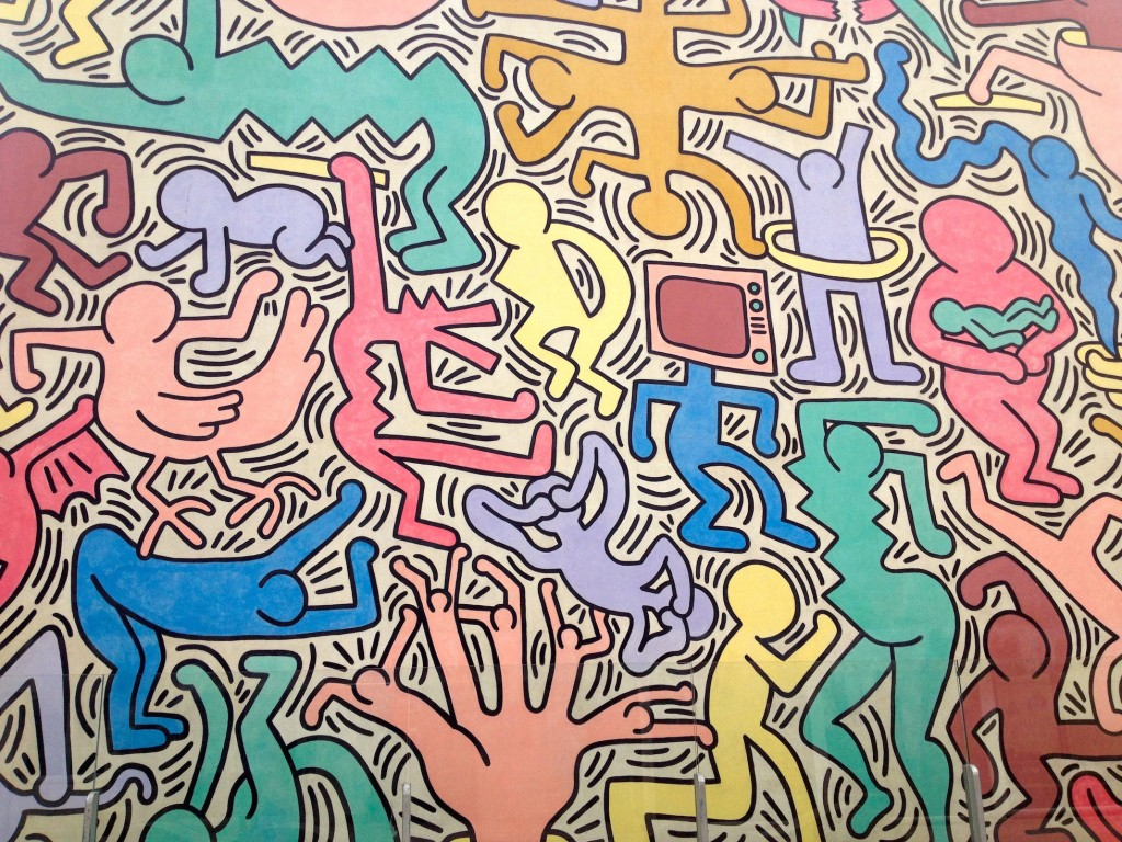 This mural in Pisa is called Tuttomondo (Whole Wide World), and was painted in 1989 by Keith Haring, an American artist. He brought NYC graffiti in to the world's mainstream. Amazingly, it's still in great shape all these years later.