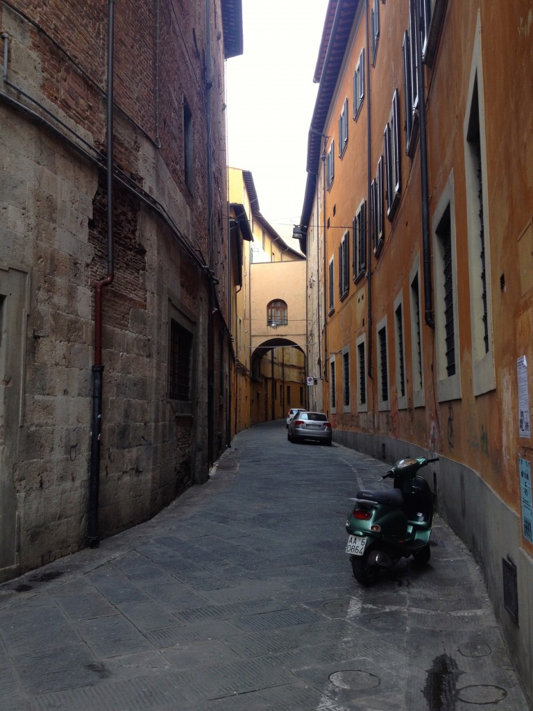 Cute, winding streets in Pisa.