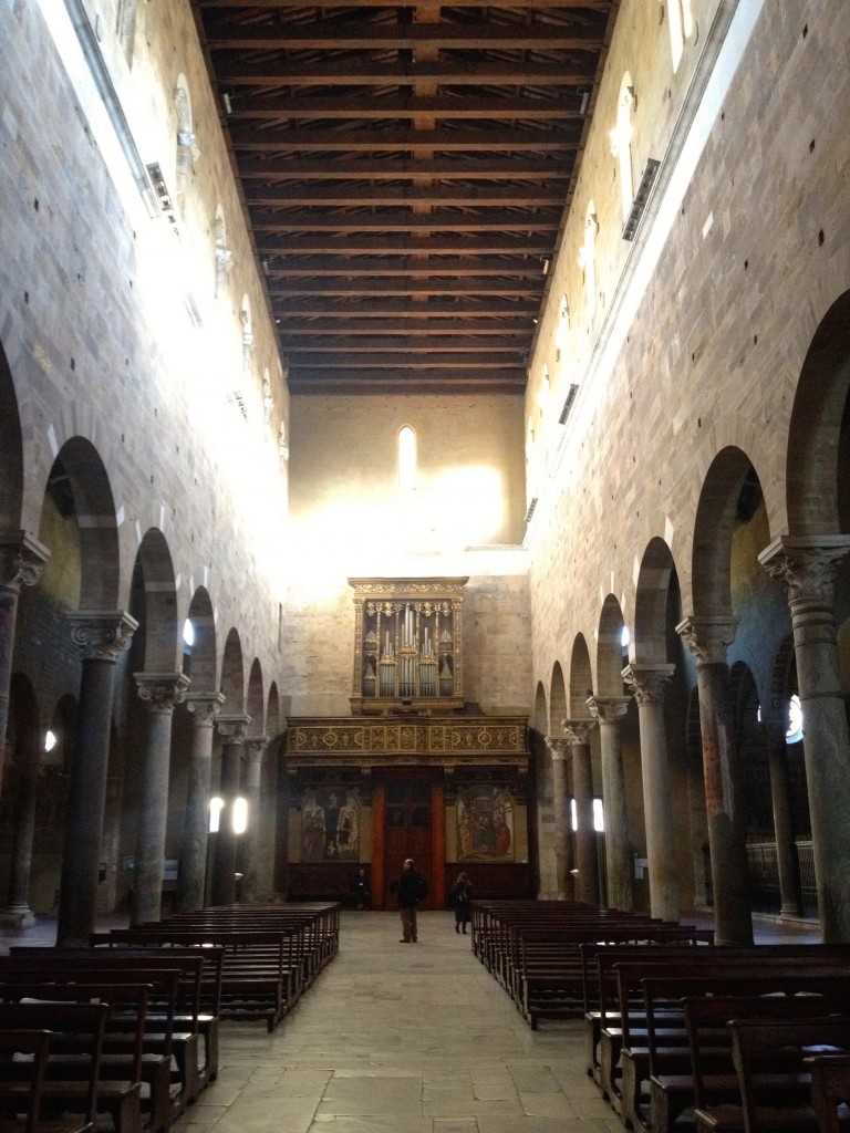 The beautiful wood-beamed interior of the Church of San Frediano.