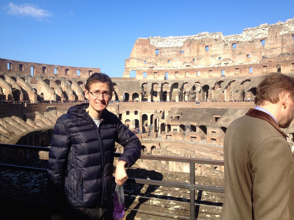 Here Kevin is, looking at some of the oldest Roman shit around, the Colosseum in Rome.