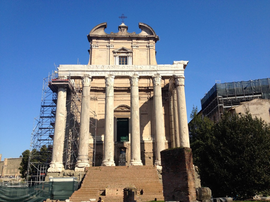 The Temple of Antoninus Pius and Faustina.