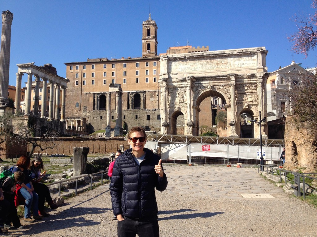 Kevin in front of the Arch of Septemius Severus, built A.D. 203.