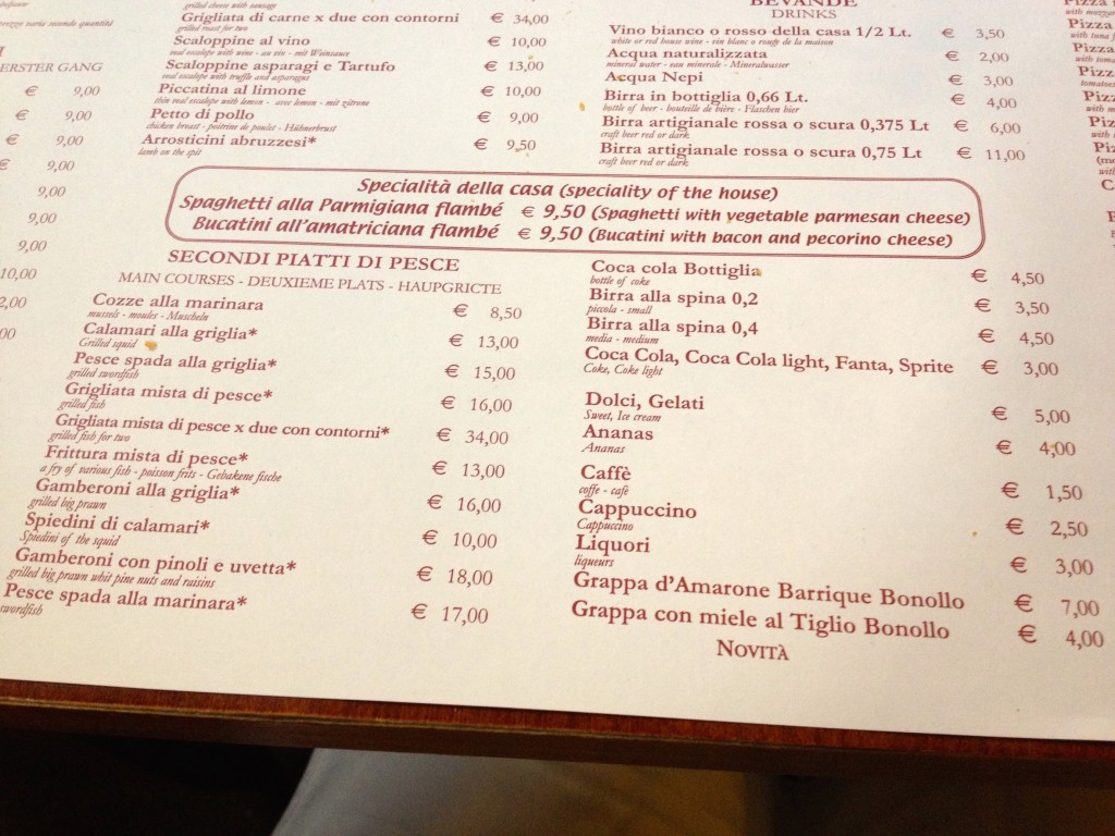 The menu at Trattoria Vecchia