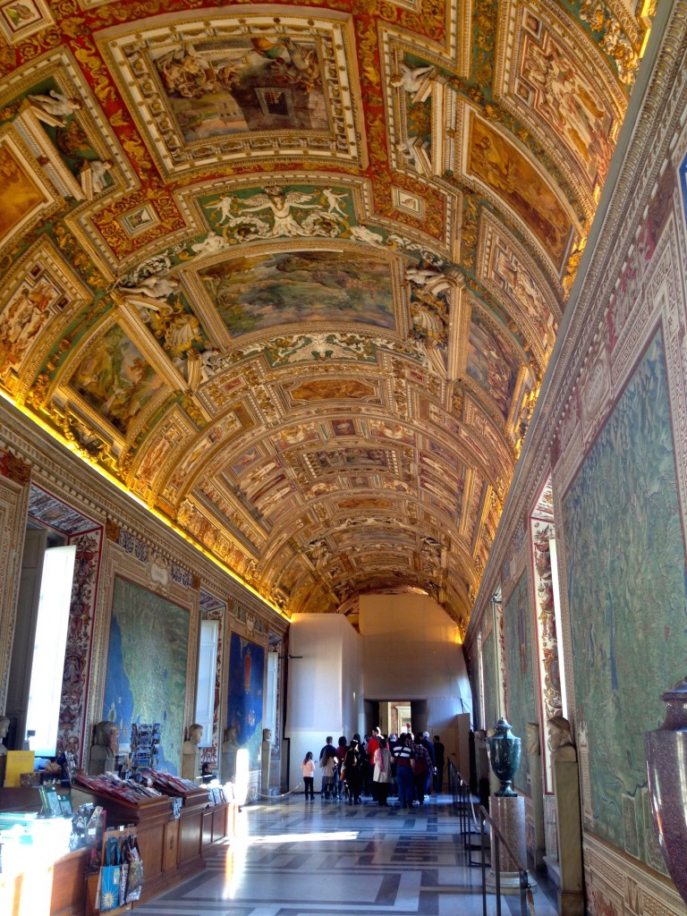 At the Vatican Museum, even the ceilings are considered art. Here's an impressive three dimensional ceiling.