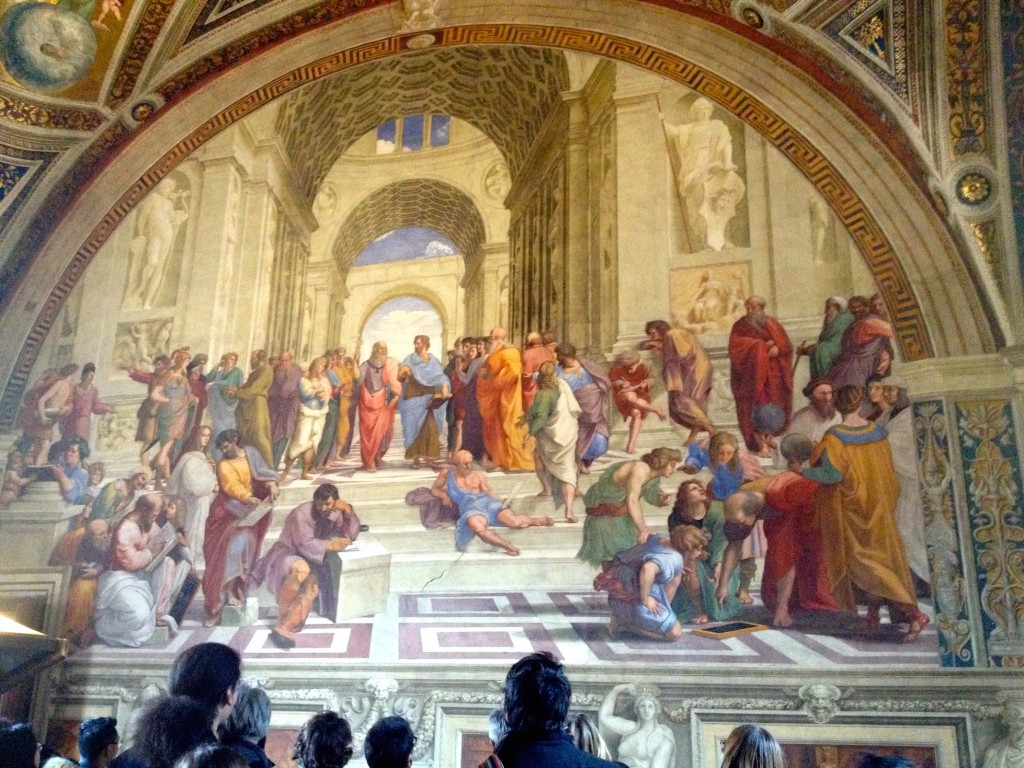 Raphael's School of Athens in the Vatican Museum.