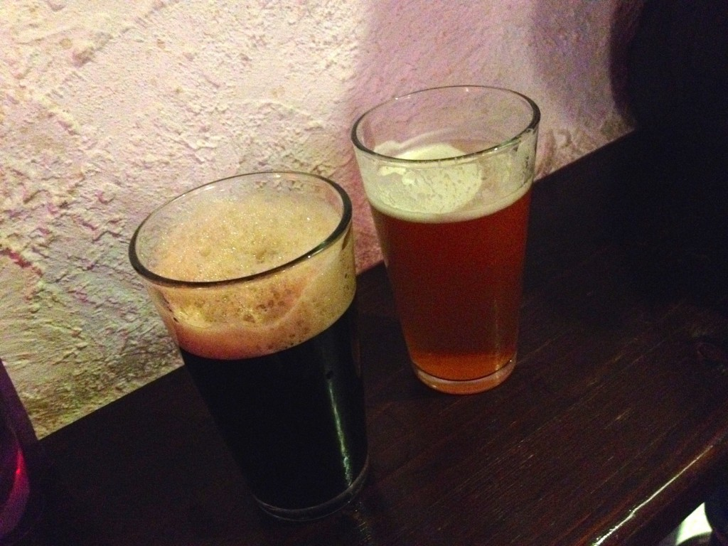 A delicious Menaresta Pan Negar Stout on the left, and a wonderful Lambrate Quarantot Double IPA on the right. Kevin is a happy man when he has an IPA in hand.