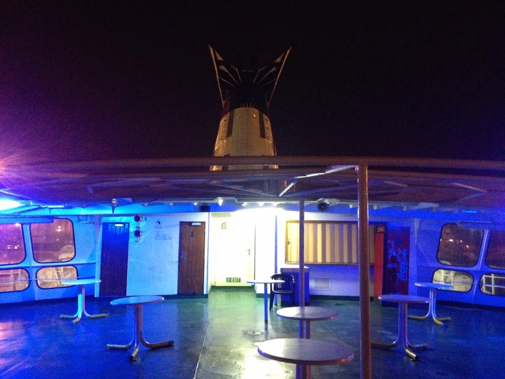 "The outdoor ""cocktail area"" on the back of our Ferry."