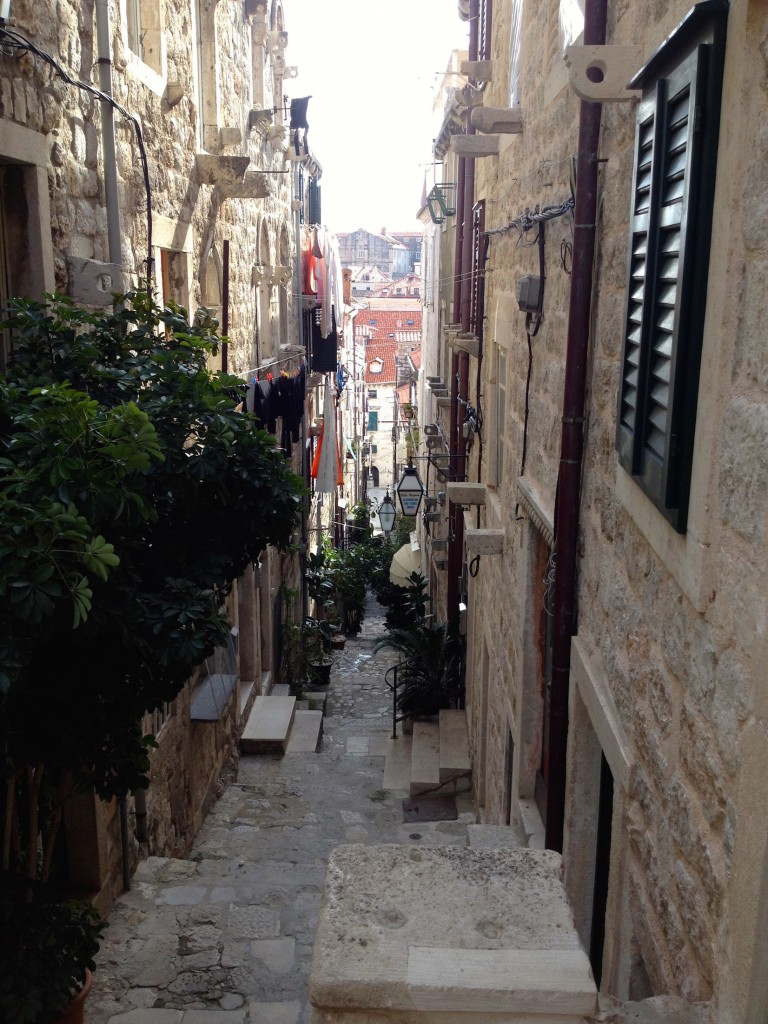 One of Dubrovnik's small little streets in the Old City.