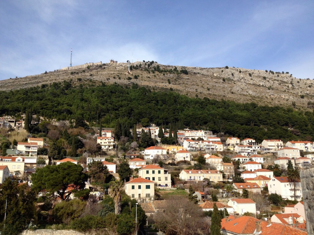 The view up towards Mount Srd, as seen from the Old City Wall.