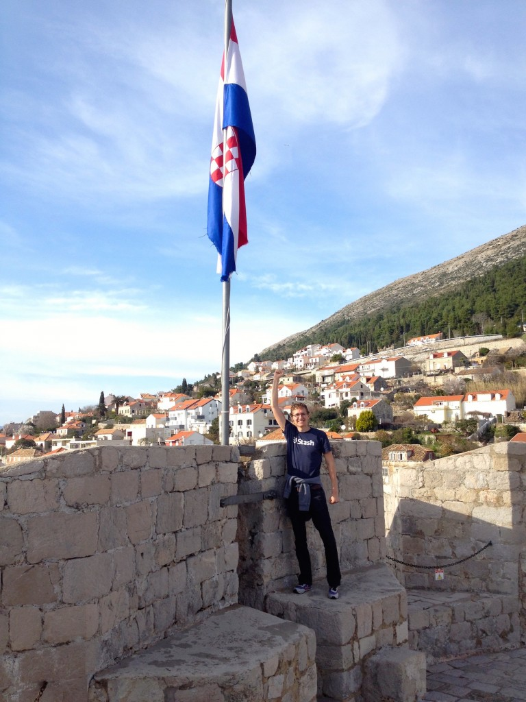 This is how we feel about Croatia so far. Here's Kevin with the Croatian flag. We love it here!
