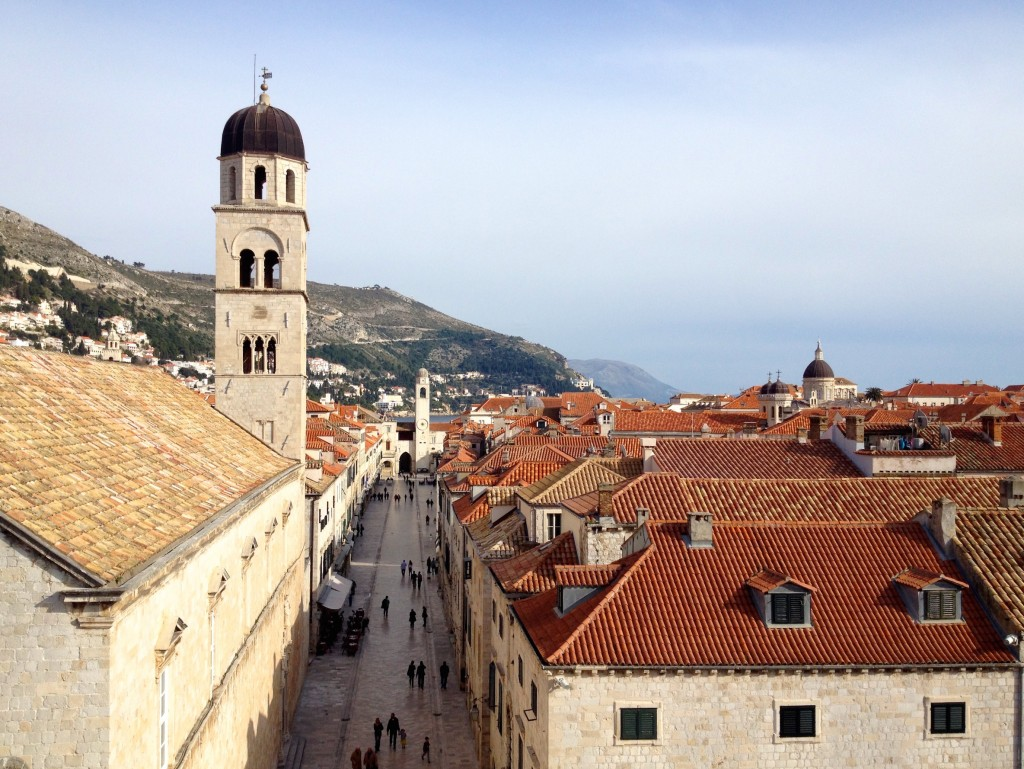 This is the Stradun, the main pedestrian drag down the center of Dubrovnik.