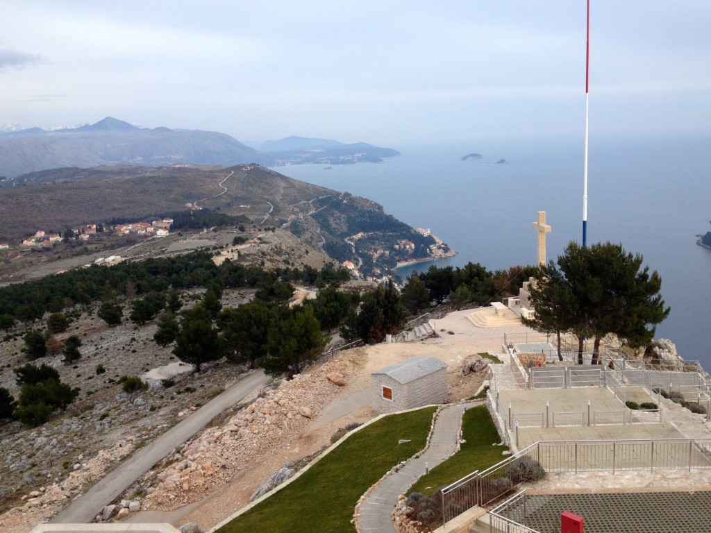 Views from the top of Mount Srd. This cross replaced the one that was destroyed in the Siege on Dubrovnik in the 90s.