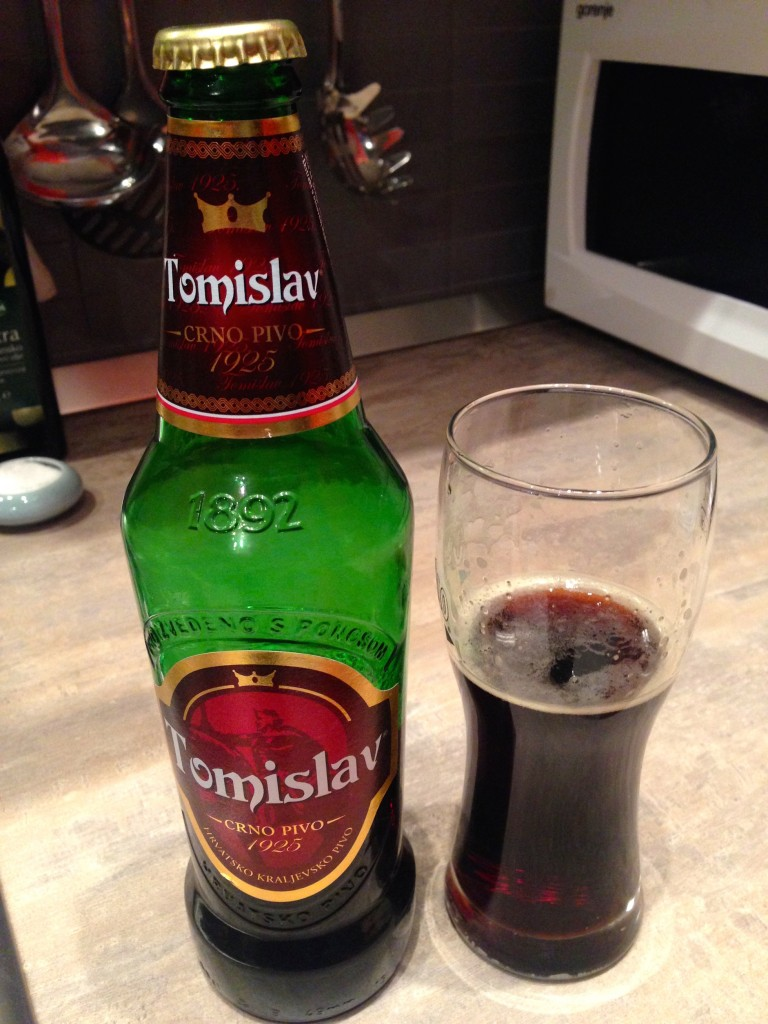 Tomislav, a dark beer. Turns out, this is the only Croatian beer we tried that we'd deem worth buying again. We miss Seattle beer!