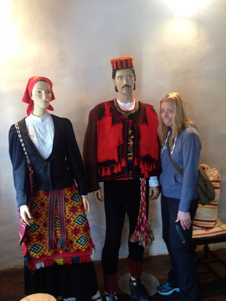 Hitting on a mannequin at the weaving exhibit in Krka's Ethno Village. Not weird at all.