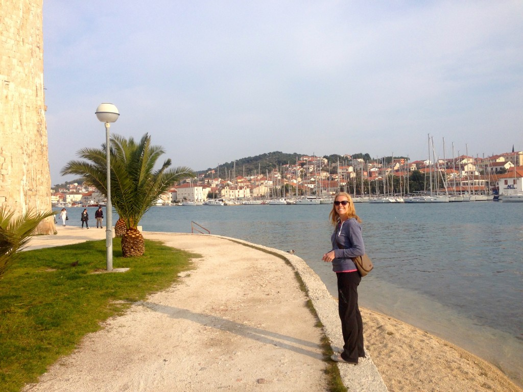 Walking along the water in Trogir.
