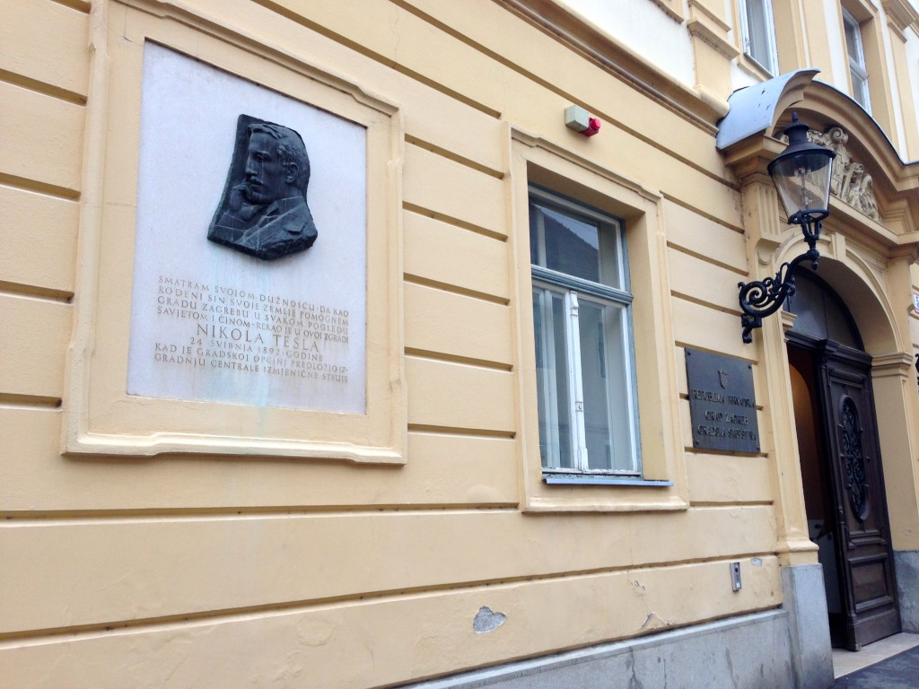 Did you know that Nikola Tesla was born in Croatia? This plaque honors him. Also, notice that the streetlight by the door is an old fashioned gaslight! In fact, Zagreb has 217 functioning gas lights around the city, and all of them have to be lit and put out each day by a couple of city employees.