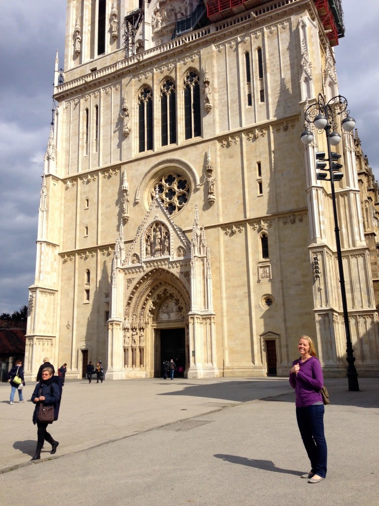 Don't miss Zagreb's Cathedral! Here I am with the bottom of the church...