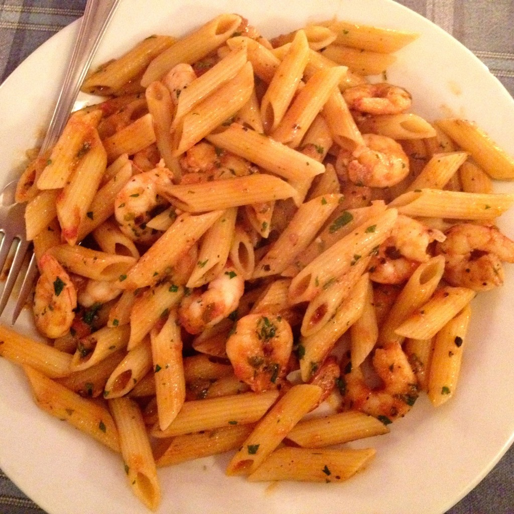 Awesome pasta with shrimp.