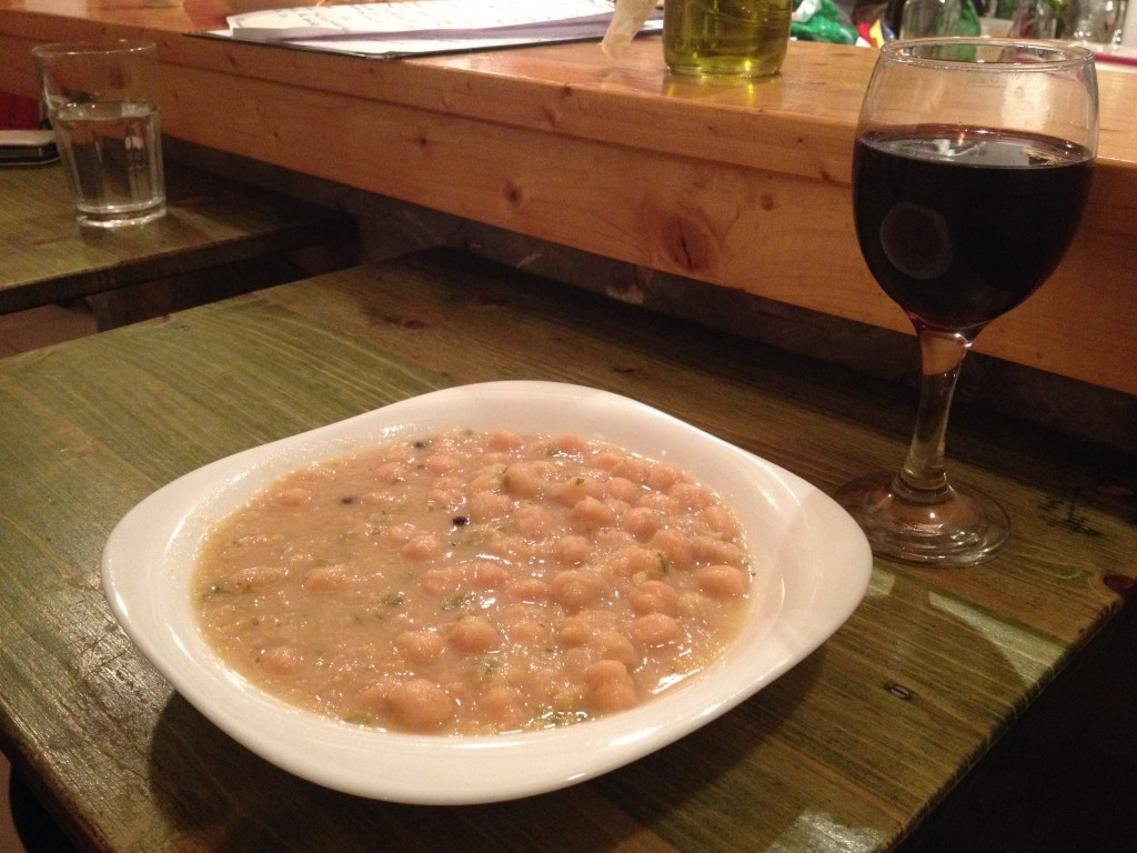 Garbanzo bean soup. Check out that huge wine pour - just $2 for a glass of wine that comes laughably full!