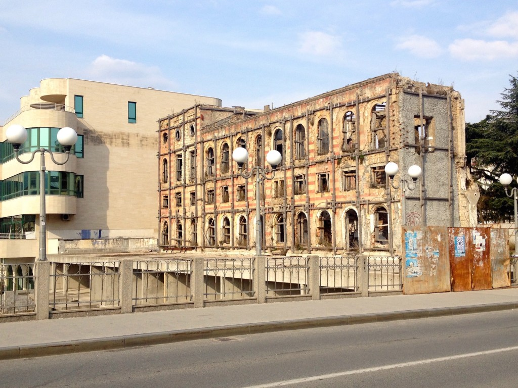 This building would've been on the front lines of the war. It sits right up against the Neretva River.