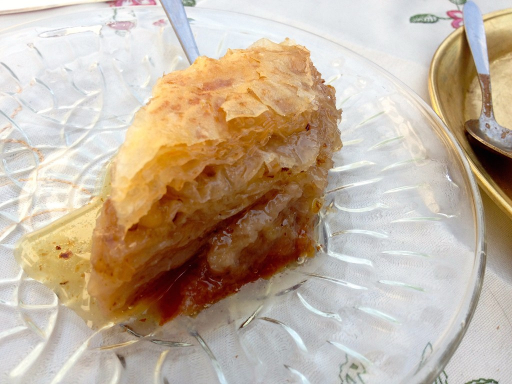 Baklava with our Bosnian Coffee. TOO MUCH SUGAR.