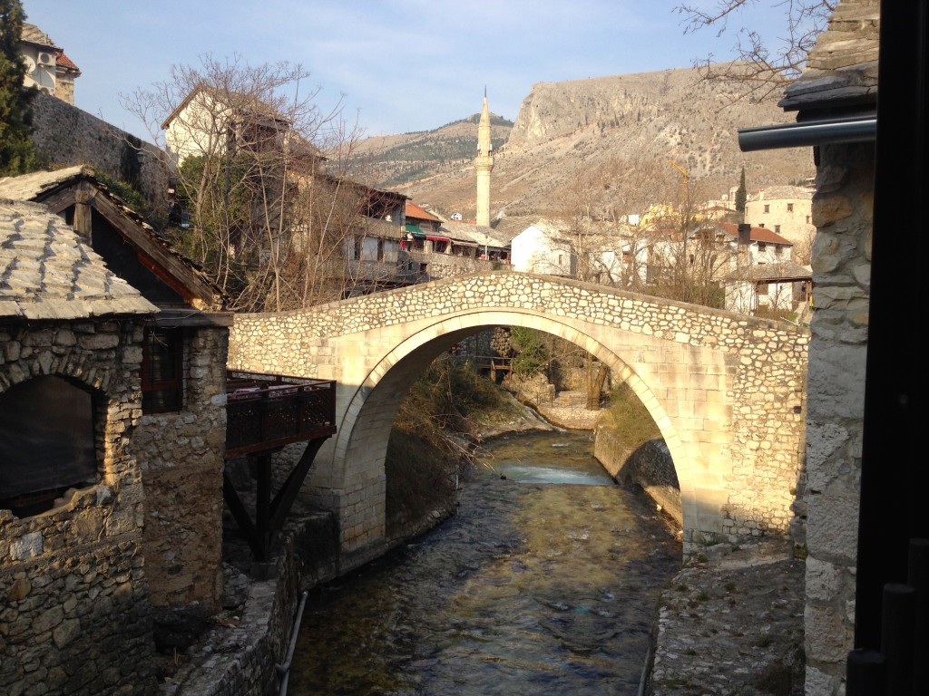 The view of Mostar's Crooked Bridge from Black Dog Pub.
