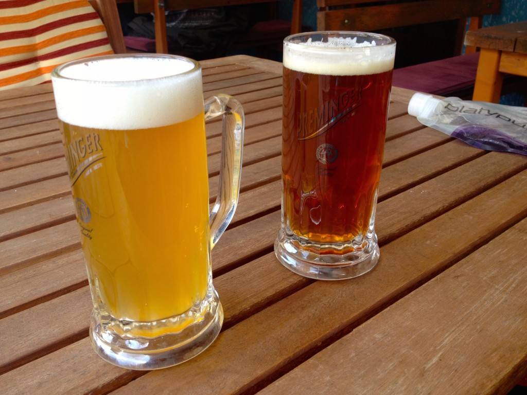 A Hefeweisen and a Red Ale at Black Dog Pub, brewed locally in Mostar.