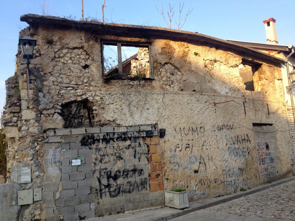 An abandoned, ruined building in Mostar.