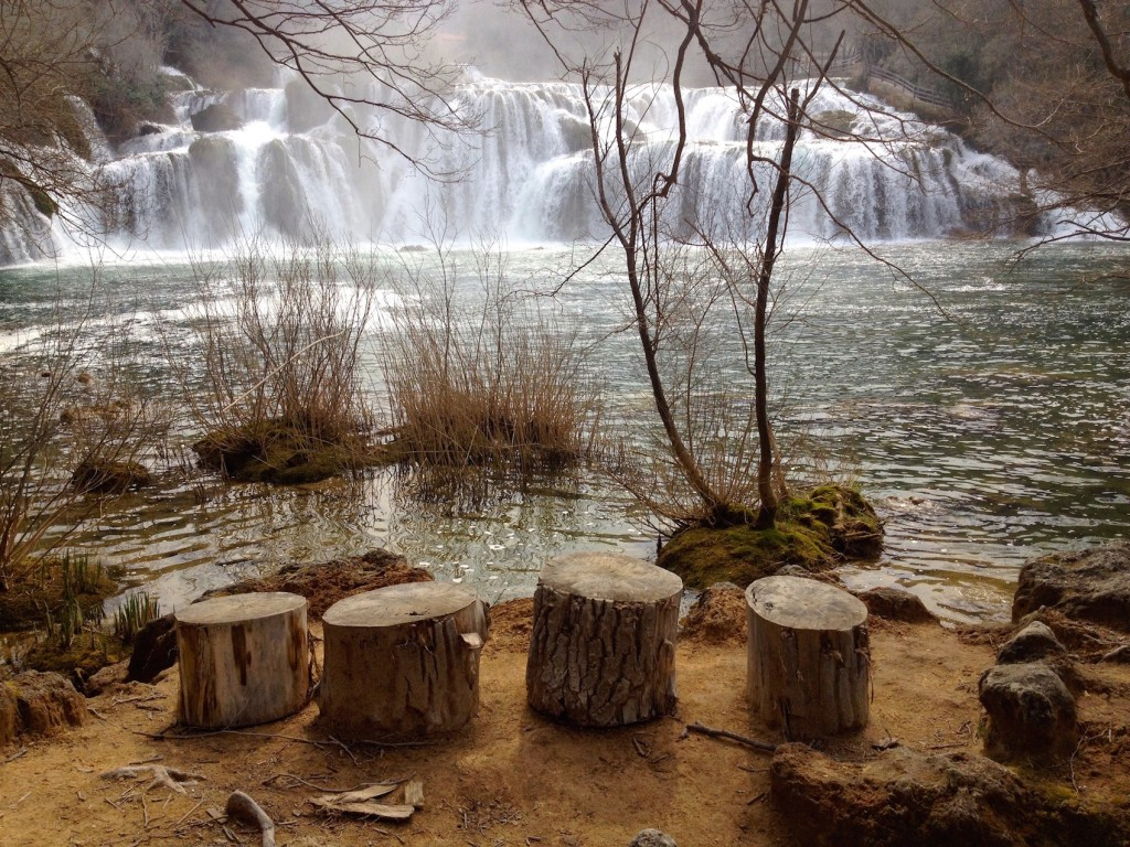 We sat on these cute little tree stumps and ate a picnic lunch. Not a soul was around - we had the falls all to ourselves!