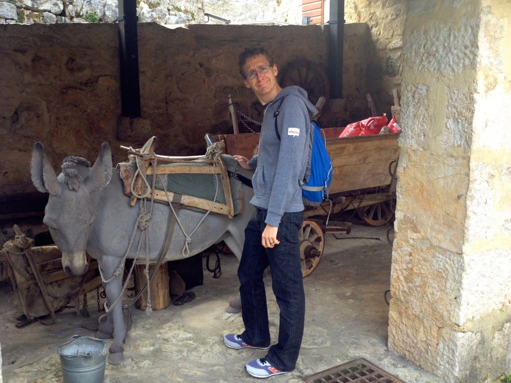 And here is Kevin with a plastic donkey...