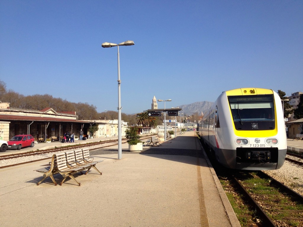 Split's tiny, sunny train station. Off we go to Zagreb!