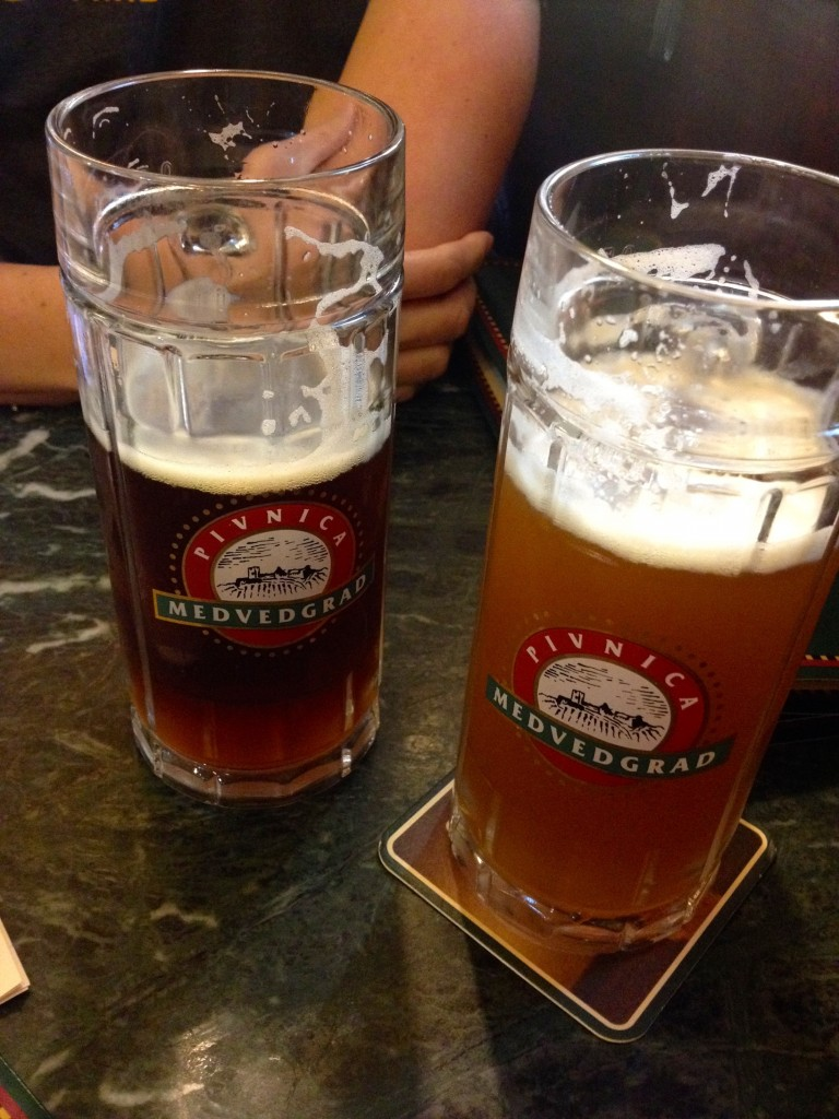 Tasty beers at Pivnica Medvedgrad. Our fave, the Wheat Beer, on the right.