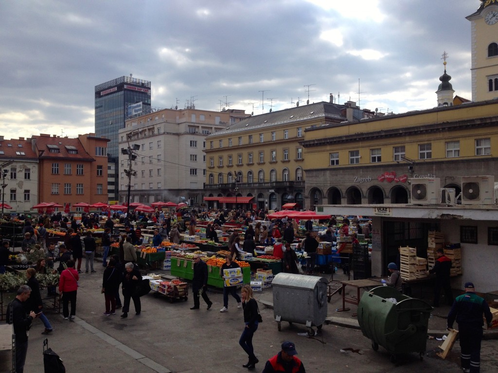 The outdoor area of the Dolac Market in Zagreb.