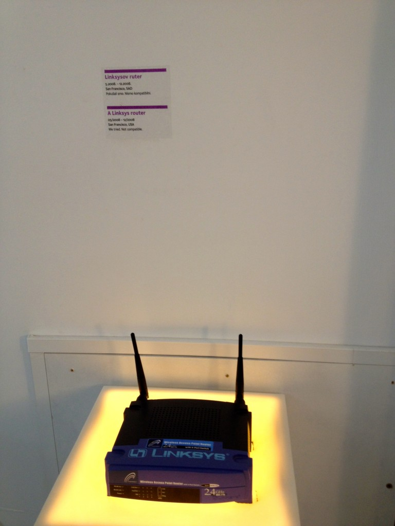 "A Linksys Router, from a 7-month relationship in San Francisco. The sender's note reads ""We tried. Not Compatible."""