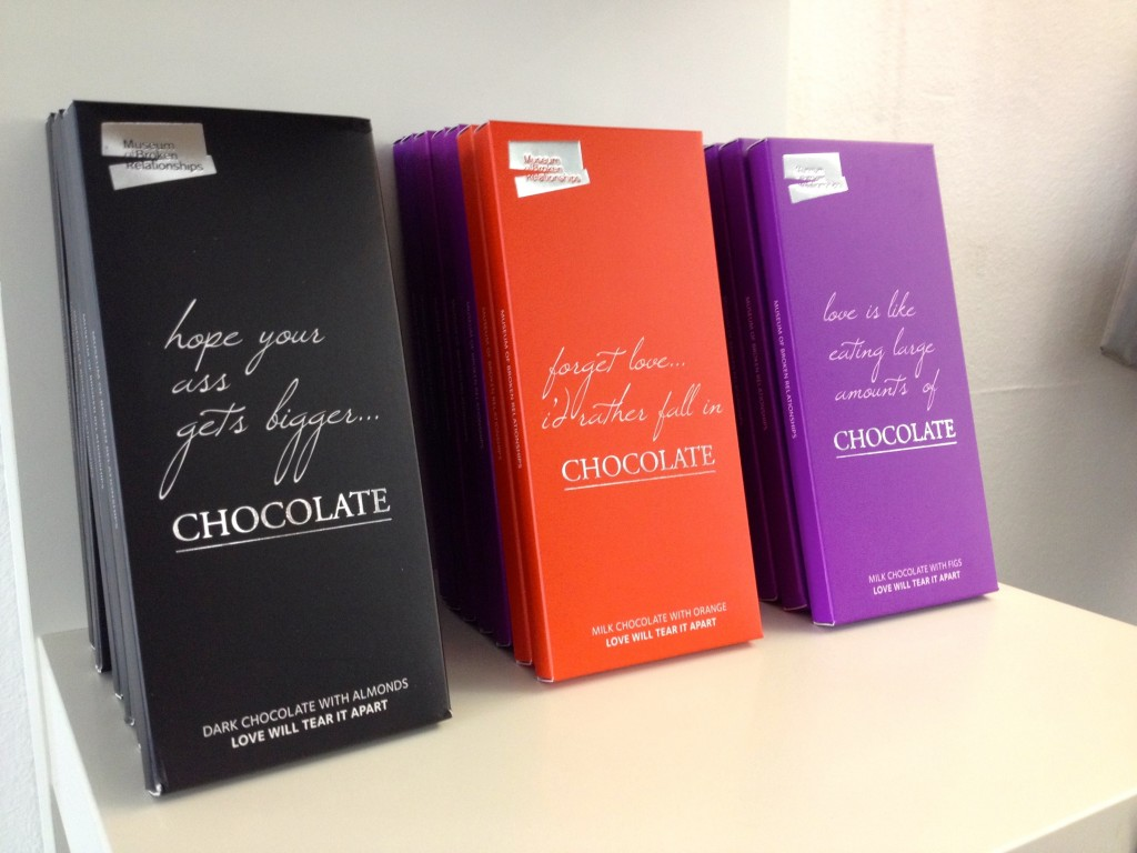 Chocolates in the Museum of Broken Relationships Gift Shop.