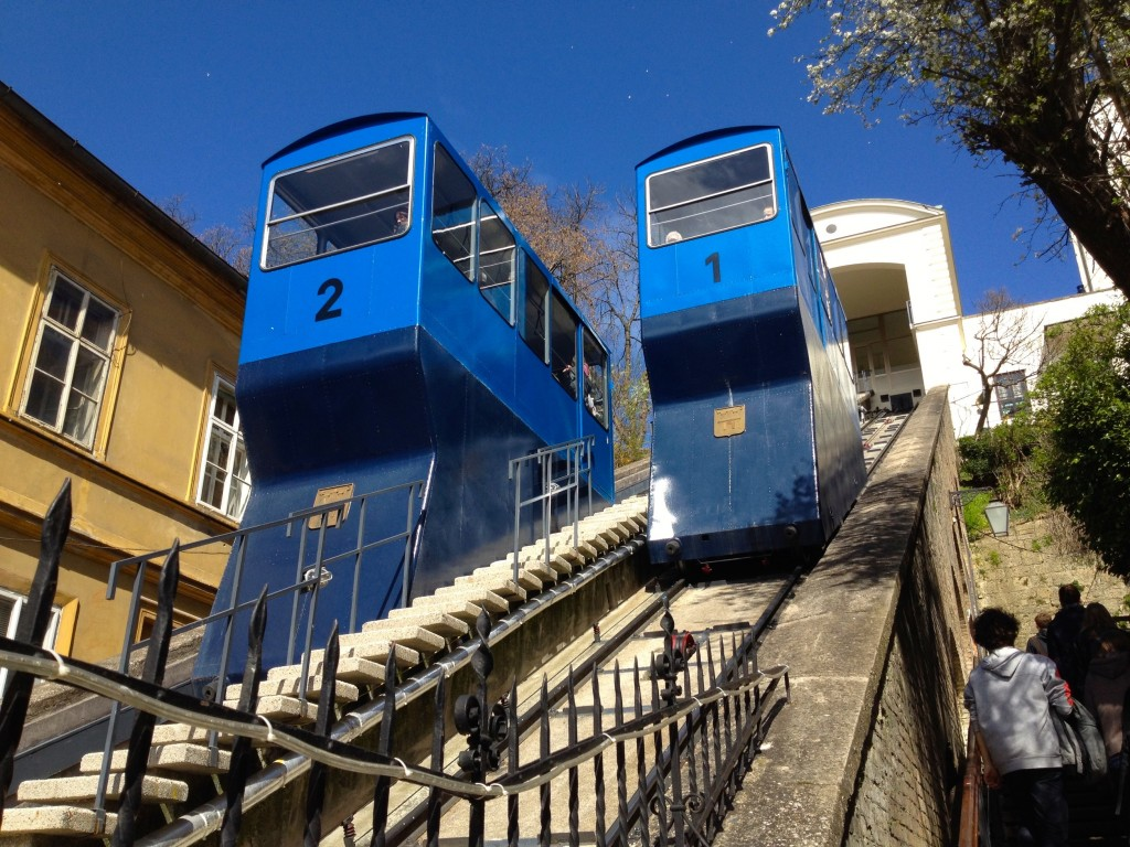Zagreb is home to the shortest Funicular in the world! It takes just 55 seconds and costs about $0.50 to use the Funicular. (The stairs are an easy option, too!)