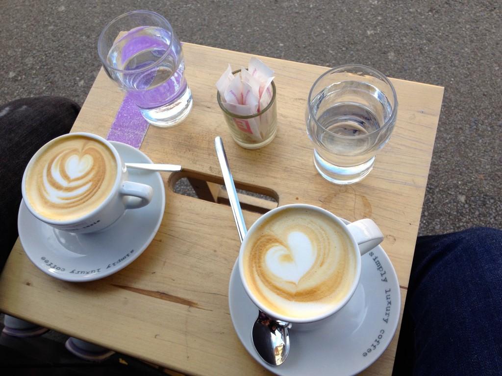 Lattes at Eli's Caffe.