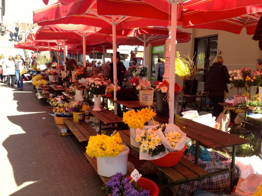 Dozens of flower vendors selling beautiful bouquets.