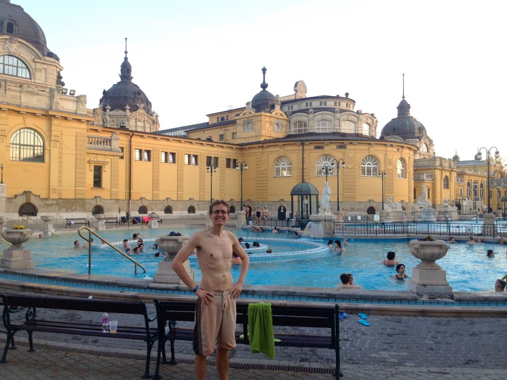 Kevin was the most covered-up man in the entire Szechenyi Baths. Silly American... :-)