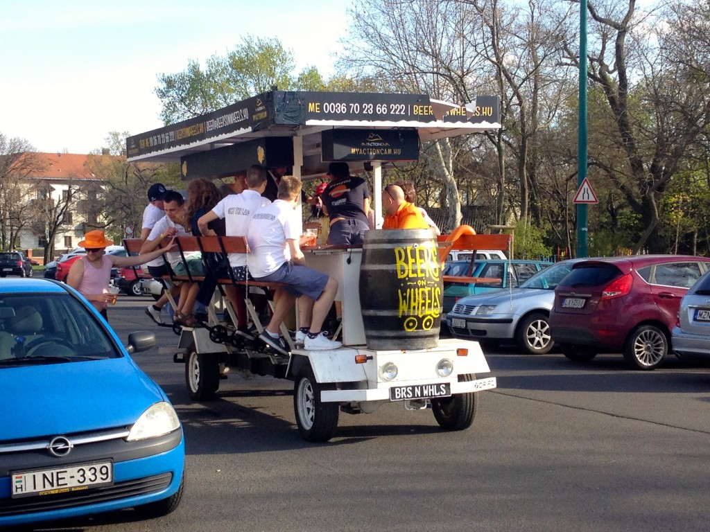 A pedal bar in Budapest. We see these all the time riding around in City Park!