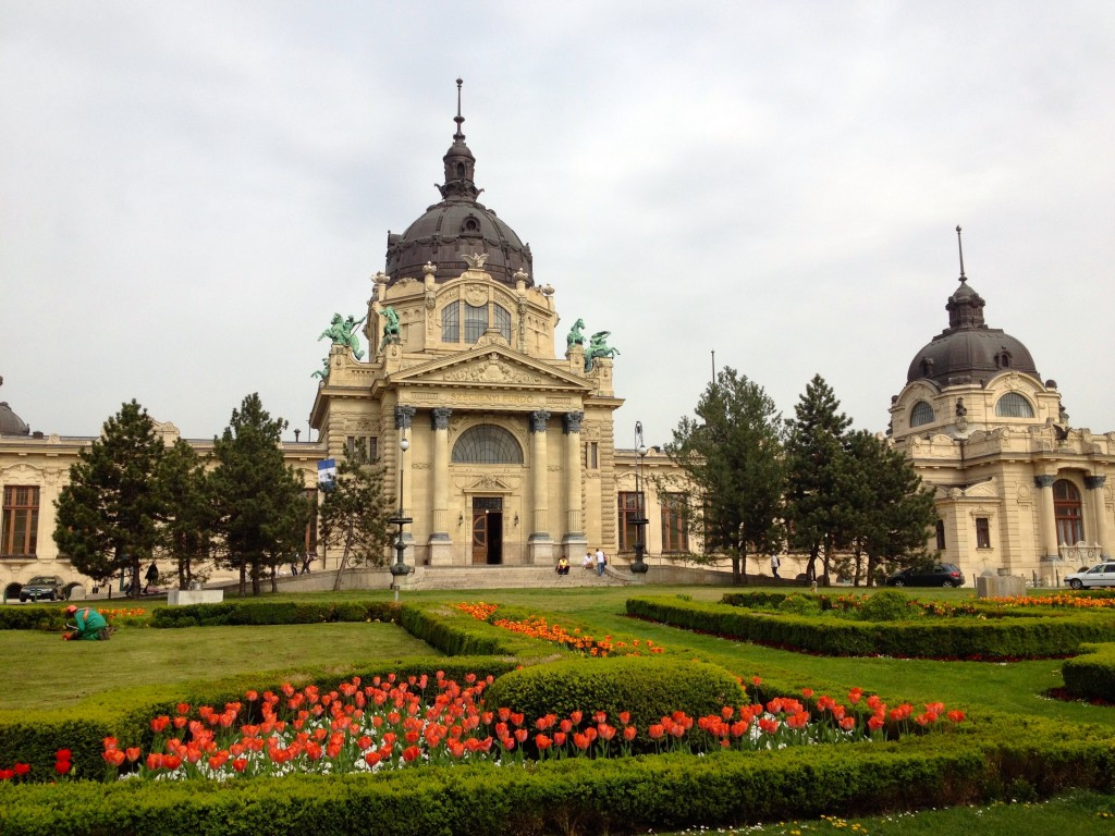 The Southeast Entrance to the Szechenyi Baths. We didn't go in this way, but it's definitely the best side to take photos. I love the spring tulips!