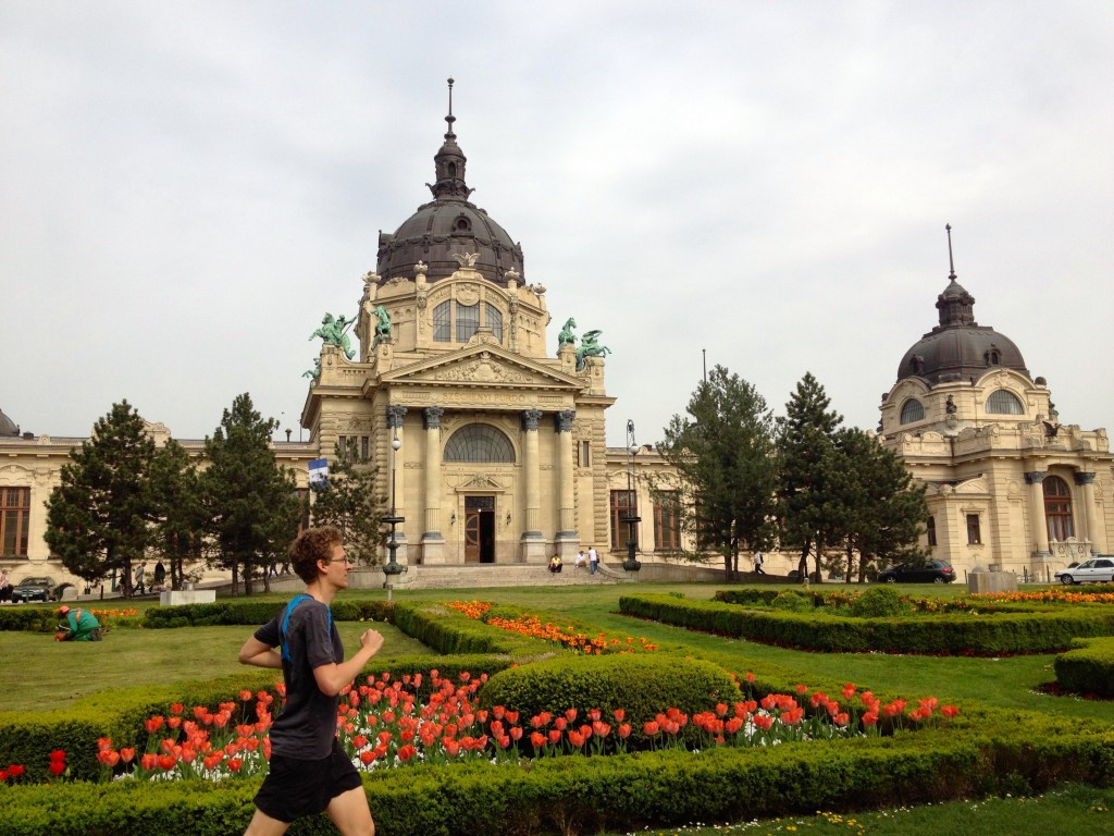 Here's Kevin running in front of the Szechenyi Thermal Baths. Can you believe those tulips?