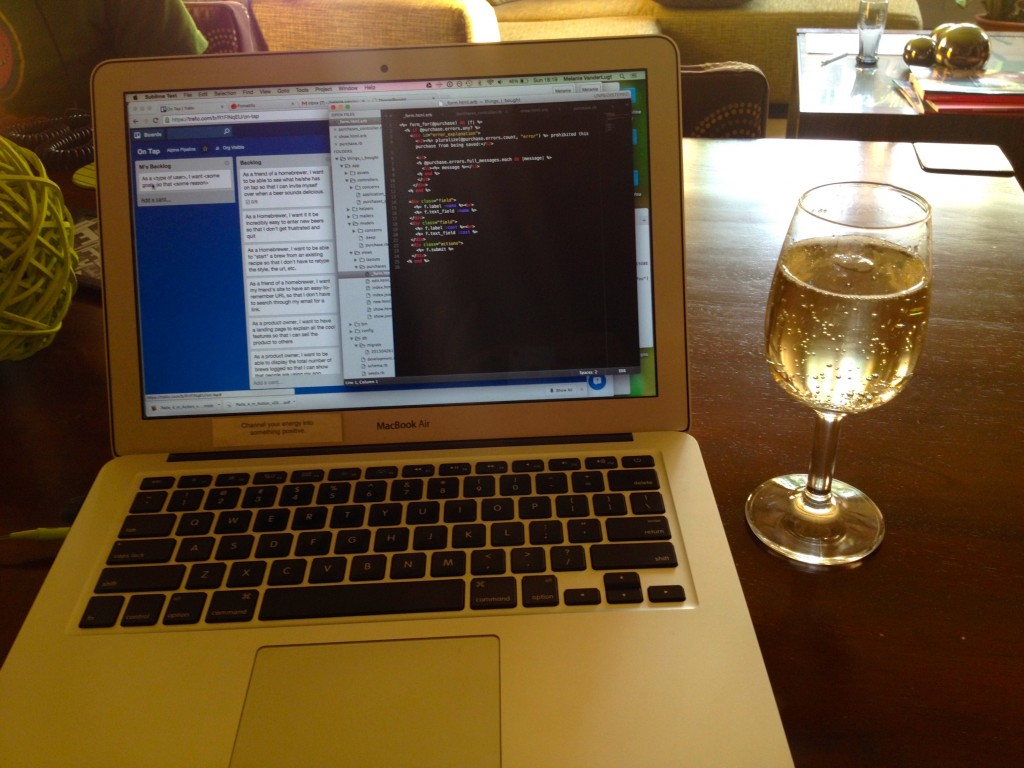 Doing a little cider-aided development in the evening in our apartment.