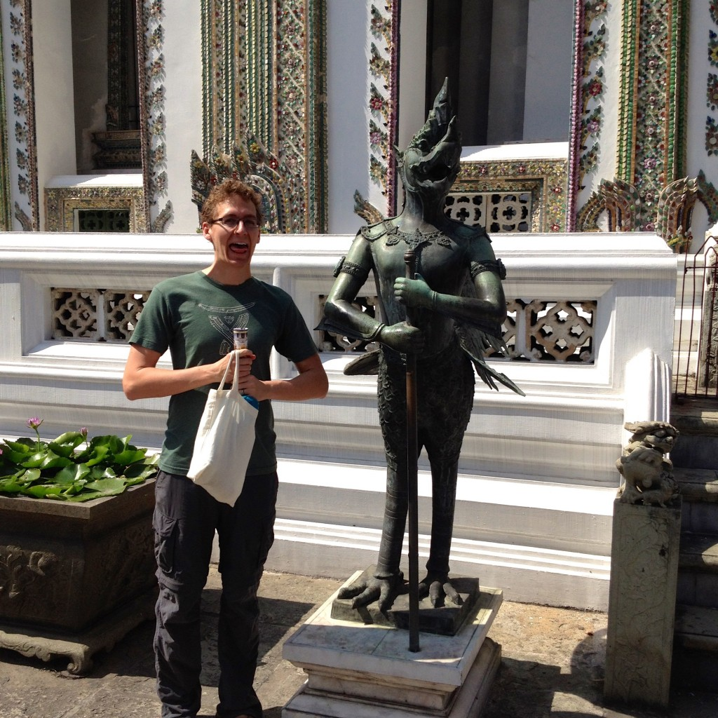 And here's Kevin, imitating the bird soldier statue thingy. NAILED IT. The Grand Palace in Bangkok.