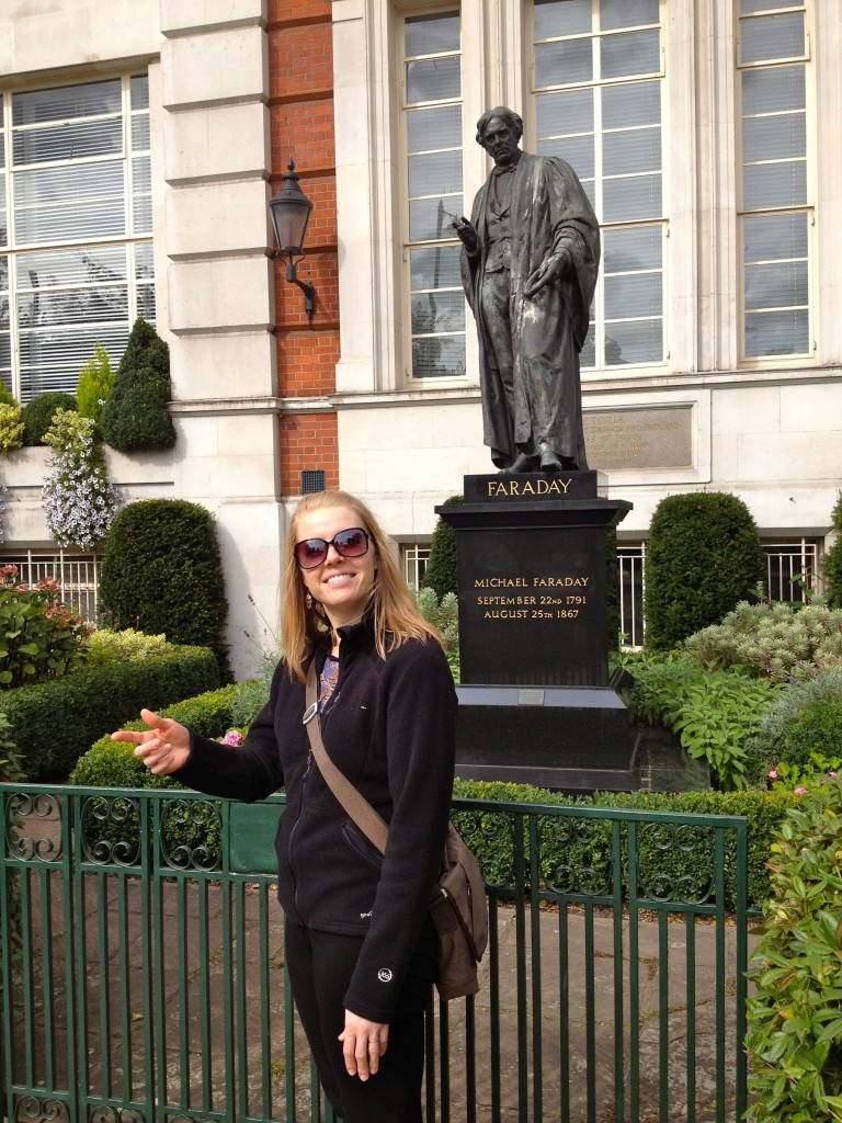 With a Faraday statue in London in 2012.