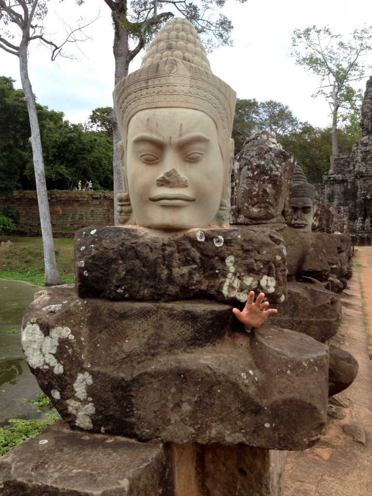 Can you find Kevin in this photo? Taken at Angkor Thom at the Angkor Wat Complex in Cambodia.