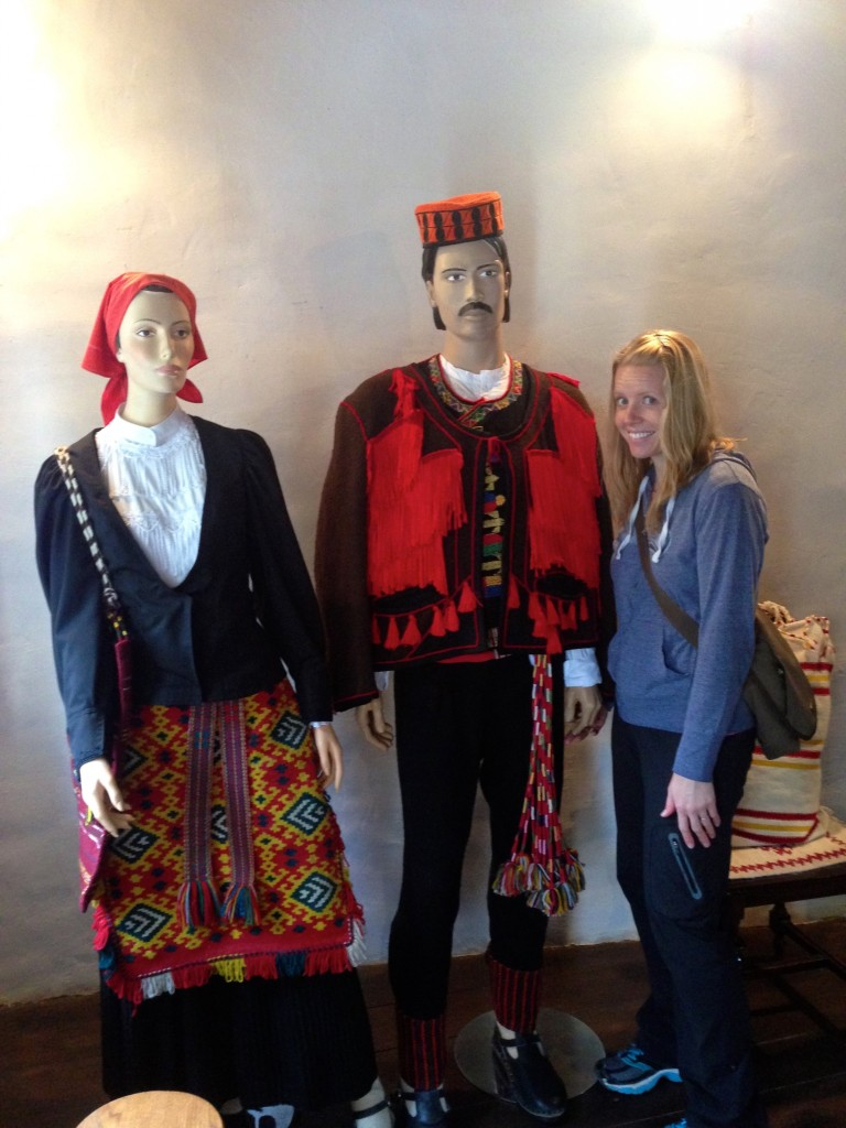 And here I am holding a mannequin's hand at an exhibit on old Croatian ways of making clothes in Krka National Park.
